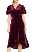 Ruby Velvet Mock Wrap Midi Dress ! Only 69.00 ! - $69.00