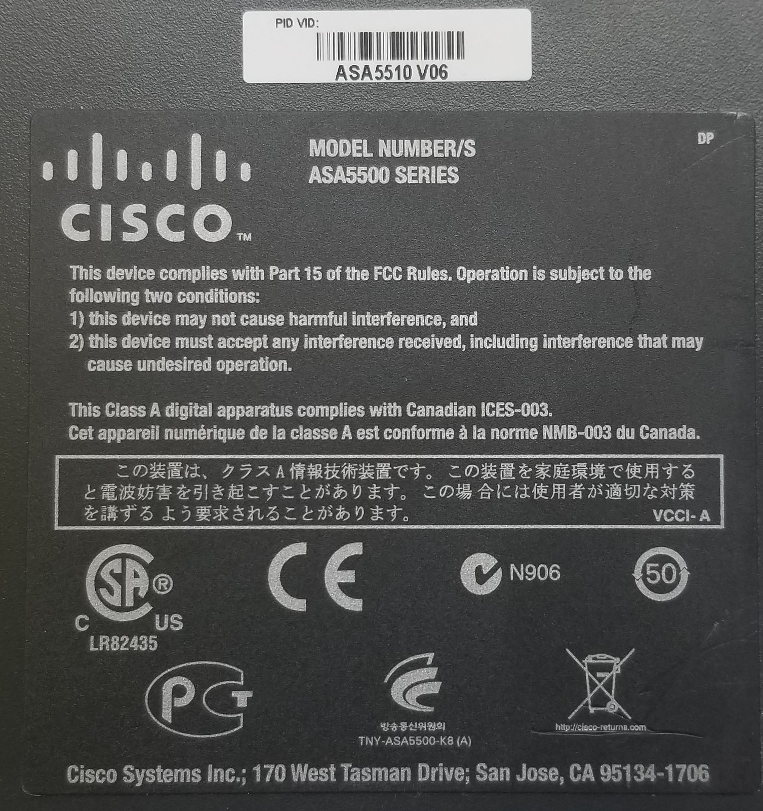 Cisco ASA 5510 Series Adaptive Security Appliance Bin:3