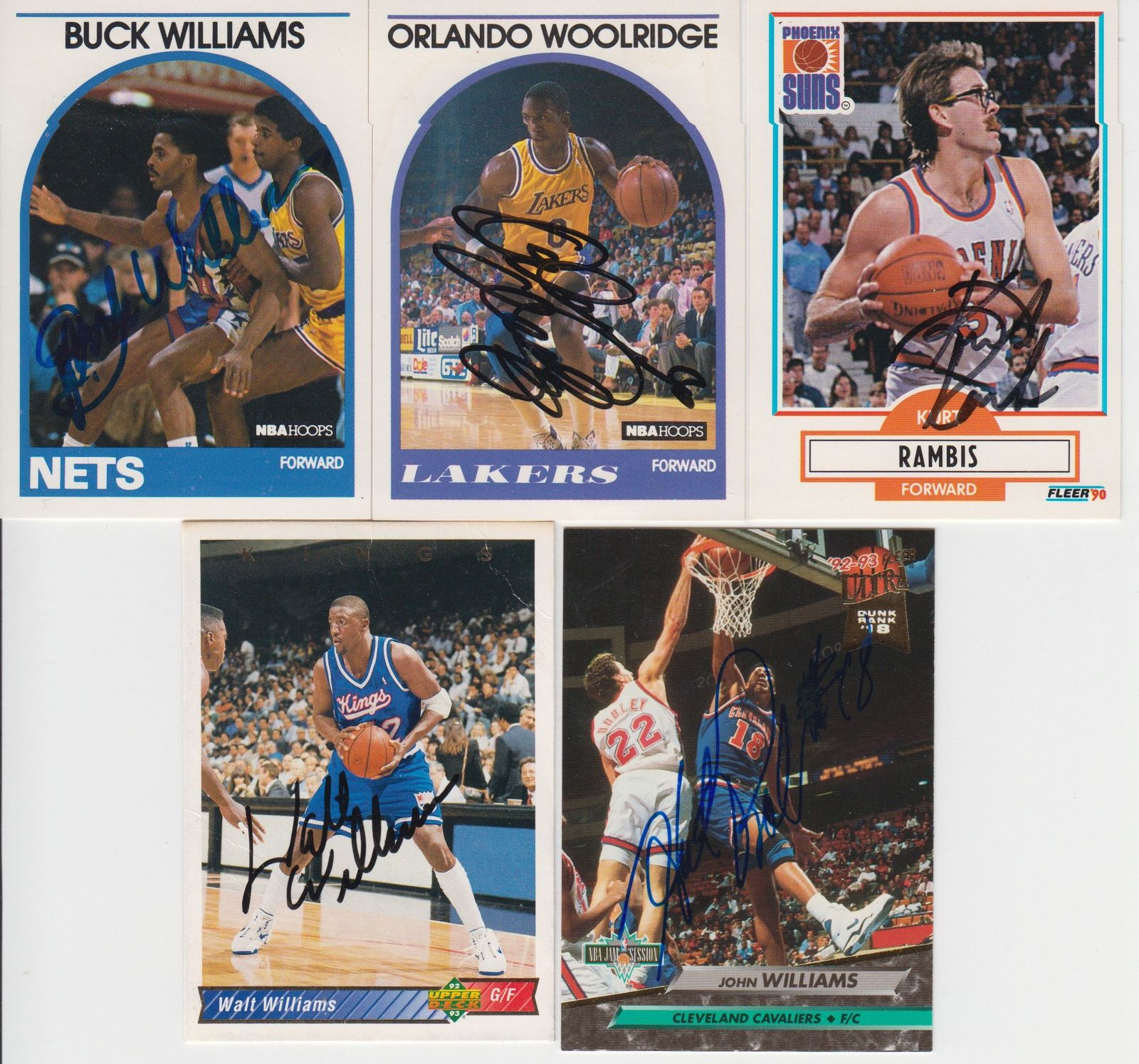 NBA Greats Signed Autographed Lot of (5) Basketball Cards - Bob Lanier, Buck Wil
