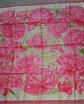 Hermes Scarf Stole LES PIVOINES Christiane Vauzelles Pink Rose Floral Si... - $401.74