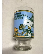 """Snoopy & Woodstock 1965 Glass Cup Tumbler, """"To You My Special Friend!""""  - $18.99"""