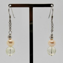 Silver Earrings 925 Rhodium Hanging With Quartz Lemon Faceted And Pearls image 2