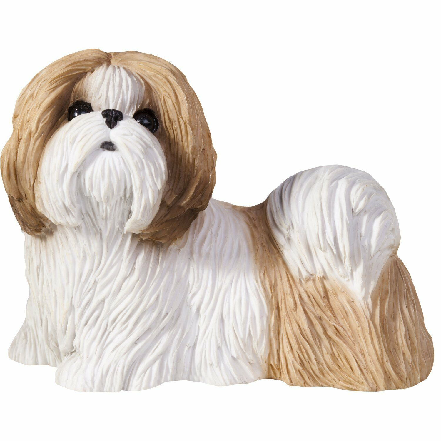 Primary image for Sandicast Sculpture: Gold and White Shih Tzu, Standing, Small Size (SS16409)