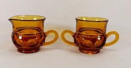 Vintage Set Of Pretty Amber Thumbprint Colony Crown Creamer & Sugar Bowl Vgc - $14.99