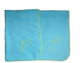 Ikea Blue Fleece Car Truck Baby Boy Blanket Green Stitching 35x35 Soft Euc - $37.74