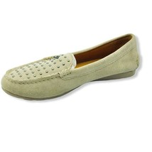 Coach Womens Orlene Moccasins Loafers Beige Suede Slip On Studded Almond Toe 7 B - $29.69