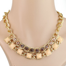 UE-Bold Gold Tone Choker Necklace with Swarovski Style Crystals & Colored Stones - $19.99