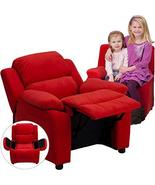 Flash Furniture Deluxe Padded Contemporary Red Microfiber Kids Recliner ... - $130.89