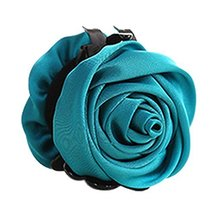 Beautiful Satin Artificial Rose Flower Hair Claw Clips Ponytail Jaw Clips, Peaco