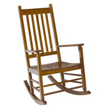 Outdoor Porch Rocking Chair Classic Oak Finish Wood Wooden Patio Rocker ... - $118.30