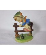 Plastic Hong Kong Hummel Replica of Little Boy on Fence with a Frog - $7.91