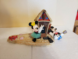 Disney Mickey & Minnie Hawaiian Themed Porcelain Picture Stand Hawaii Hut - $44.99