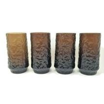 Lenox Blown Crystal Impromptu Brown Tall Flat Iced Tea Glasses Tumblers ... - $84.78