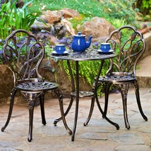 Ornate Bistro Table and Chairs Set 3 Piece Outdoor Patio Garden Chat Fur... - ₹14,753.65 INR