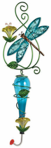 Painted Metal & Glass Blue Dragonfly Garden Hanging Hummingbird Nectar Feeder
