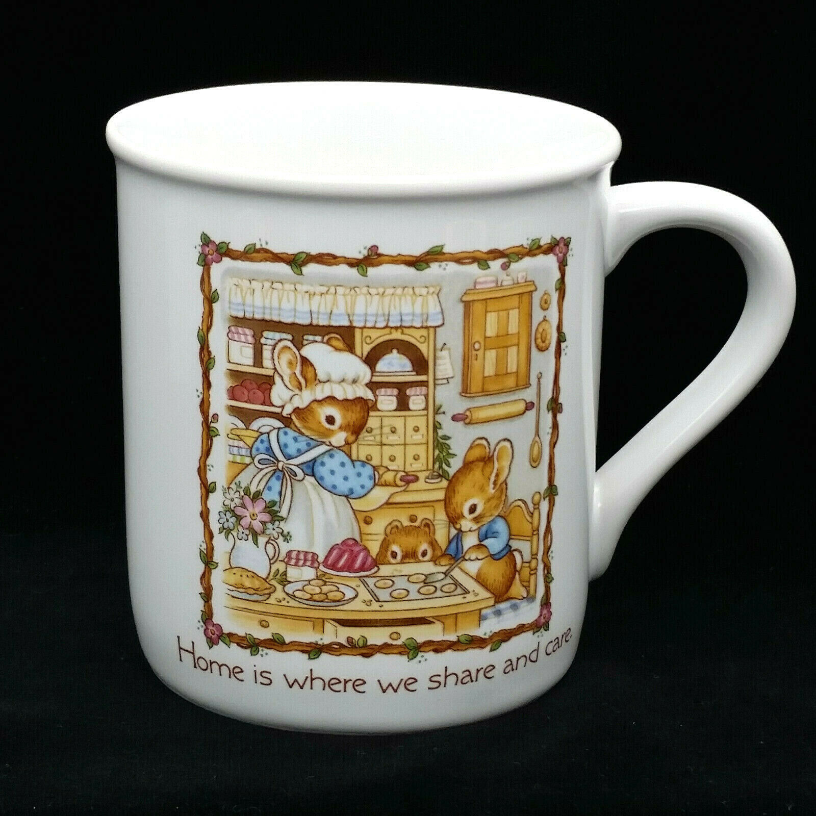 Primary image for Vintage Hallmark Coffee Mug Home Is Where The Heart Is Share Care Bunny Rabbits