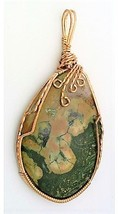 Rainforest Jasper Bronze Wire Wrap Pendant 21 - $27.98