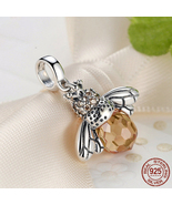 Classic Hotsale New 925 Sterling Silver Orange Dancing Bee Pendants Fit  - $19.43
