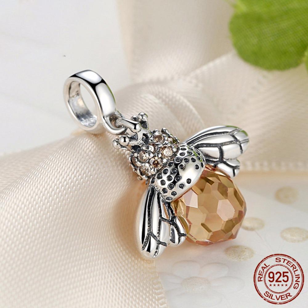 E new 925 sterling silver orange dancing bee pendants fit bisaer bracelet necklace for women 303
