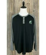 Michigan State Spartans Shirt Mens 2XL Raglan Long Sleeve Mesh 2-Button ... - £10.09 GBP