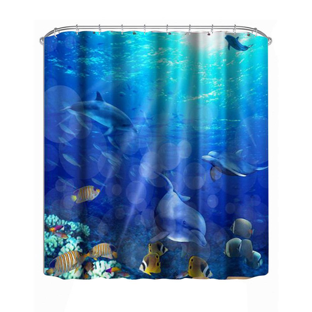 Erwater world dolphin shower curtain 3d printing shower door curtain shower shelter bath screens