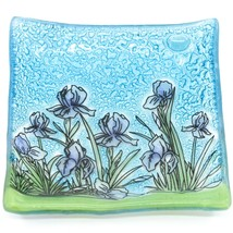 Fused Art Glass Purple Iris Flower Design Square Soap Dish Handmade Ecuador