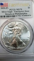 2020 P SILVER EAGLE Dollar $1 EMERGENCY ISSUE PCGS MS70 First Strike Coin C145 image 2