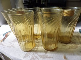 Vintage Kitchen Tumblers Gold Amber Swirl Retro Set of 6 - $19.79