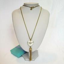 "ANNE KLEIN Statement Chain Necklace w Pearl Heart Tassel Pendant 35"" Long - $19.97"