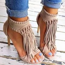 high 43 Sandals Solid shoes Color Tassel Fashion heeled Stiletto 34 women's xwnBpE