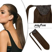 RUNATURE Hair Extensions Ponytail Real Human Hair Clip in 16 Inches 80g Darkest