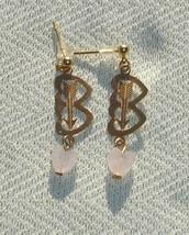 Double Heart Gold & Pink Quartz Gemstone Post Earrings - $11.99