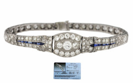 Ladies 1920s Antique Art Deco Estate Platinum 6.80ctw Diamond Sapphire B... - $5,895.85
