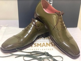 Handmade Men's Green Leather Lace Up Dress/Formal Oxford Shoes image 3