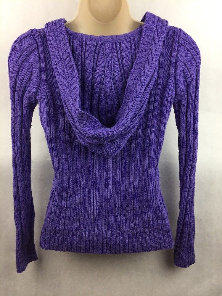 Girl's Justice Purple Cable Knit Hooded Pullover Top Size 14 image 3