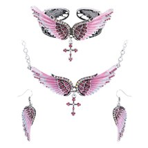 Women's Angel Wing Cross Necklace Earrings Bracelet Set image 11