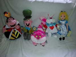 Disney Store Alice in Wonderland Plush Set: Alice, Rabbit, Queen, Hatter... - $227.69