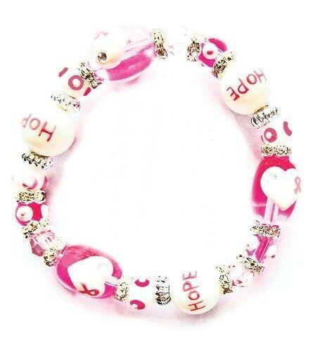 Think Pink Breast Cancer Rhinestone Glass Bead Kate and Macy Stretch Bracelet