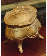 ANTIQUE ART NOUVEAU JEWELRY TRINKET CAST METAL MATTE GOLD BOX # 1131 FOO... - $29.99