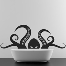 ( 24'' x 9'') Vinyl Wall Decal Scary Octopus Head with Tentacle / Sea Creature B - $17.85