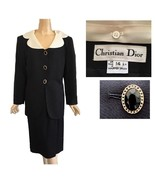 Vintage Christian Dior Black Skirt Suit With Removable White Collar 12 - $395.00