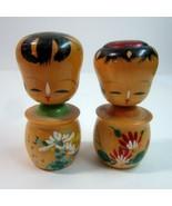 Pair of Vintage Wooden Handpainted Nodder Bobbing Head Japanese Kokeshi ... - $19.50
