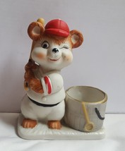 Jasco Luvkin Critters Bear Playing Baseball Figurine Votive Candle Holder used - $21.87