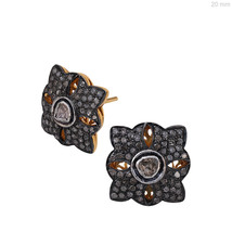 14k Gold 1.35 Ct Diamond Polki Designer Stud Earrings 925 Silver Ruby Gemstone - $298.27