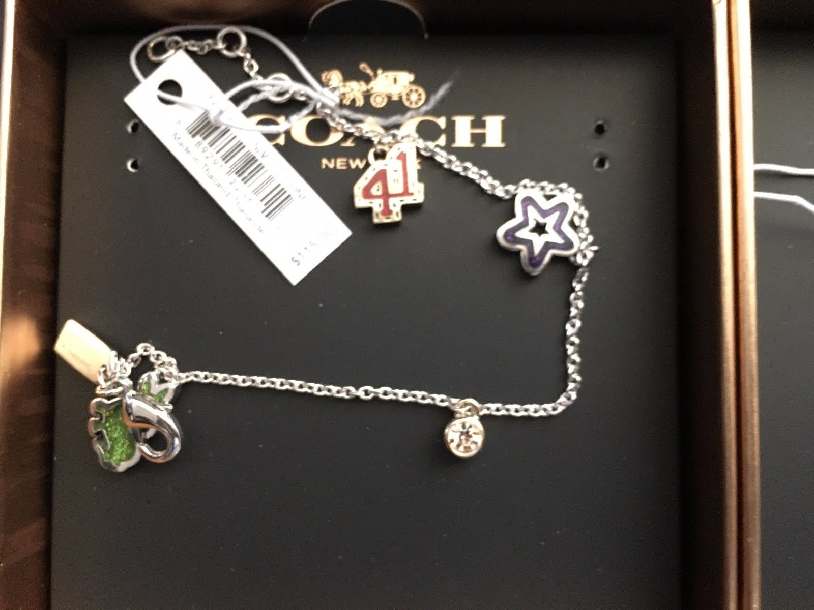 NWT Coach F221616 Varsity Bracelet silver and matching varsity earrings