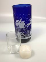 Vintage Cobalt Blue Santa Christmas Glass candle holder tumbler hostess ... - $29.37
