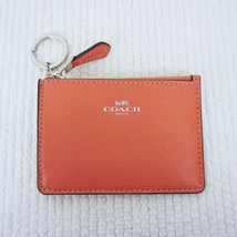 New COACH Mini Skinny ID Wallet Key Chain Crossgrain Leather Coral $65 - $26.97