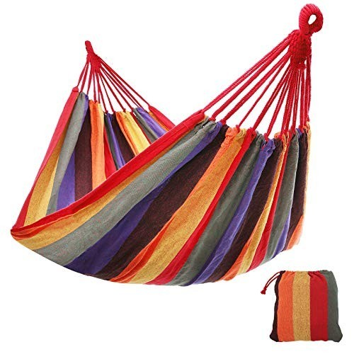 Outdoor cotton hammock comfortable extra large portable red5cd6a4ab987cc