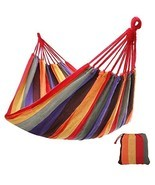 Outdoor Cotton Hammock Comfortable Extra Large Portable, Red - £31.57 GBP