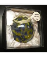 LSArts Christmas Ornament Art Glass Friendship Ball Blue Yellow Original... - $14.99
